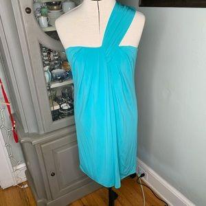 Laundry by Design aqua blue one shoulder dress NWT